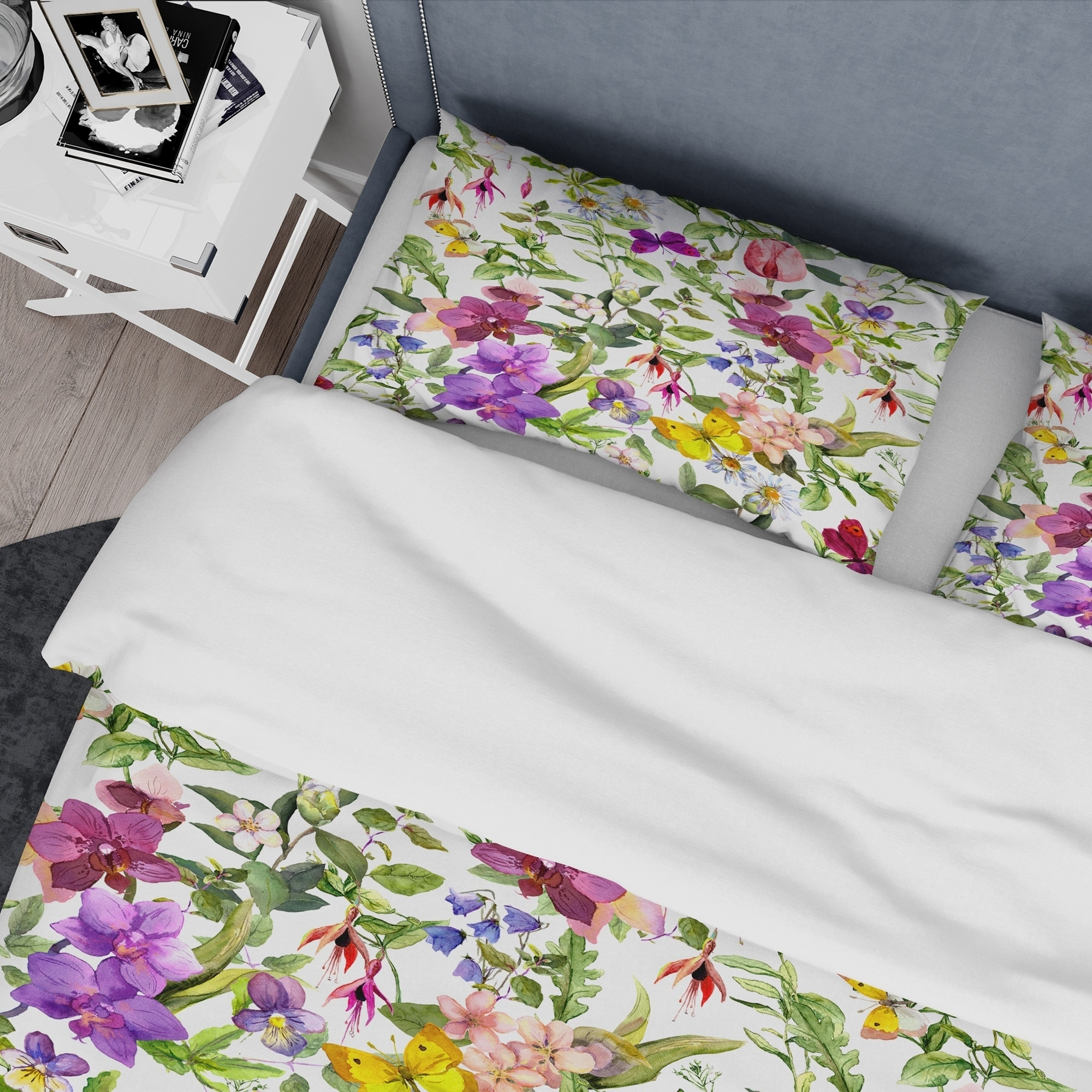 Designart Purple Blossoming Orchids And Yellow Butterflies Floral Bedding Set Duvet Cover Shams On Sale Overstock 24241864