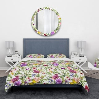 Designart 'Purple Blossoming Orchids and Yellow Butterflies' Floral Bedding Set - Duvet Cover & Shams