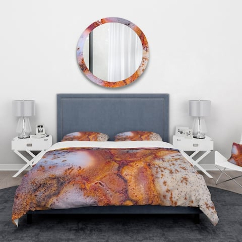Designart 'Moss Agate with crack' Stone Bedding Set - Duvet Cover & Shams