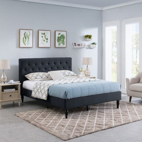 Atterbury Fully-Upholstered Queen-Size Platform Bed Frame by Christopher Knight Home