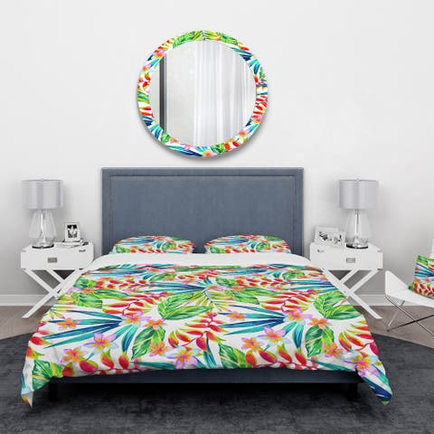 Designart 'Viviv Blossoming Tropical Jungle Flowers' Floral Bedding Set - Duvet Cover & Shams