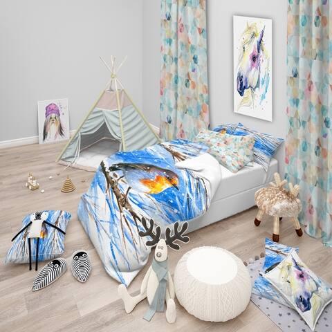 Designart 'Robin in winter' Animals Bedding Set - Duvet Cover & Shams