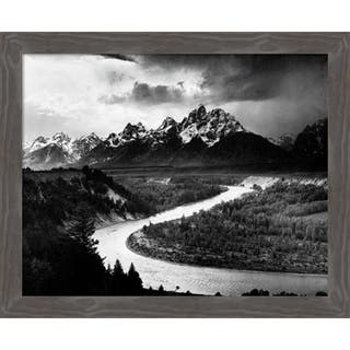 Canvas Art Framed 'The Tetons - Snake River, Grand Teton National Park, WY, 1941' by Ansel Adams: Outer Size 27 x 22-inch