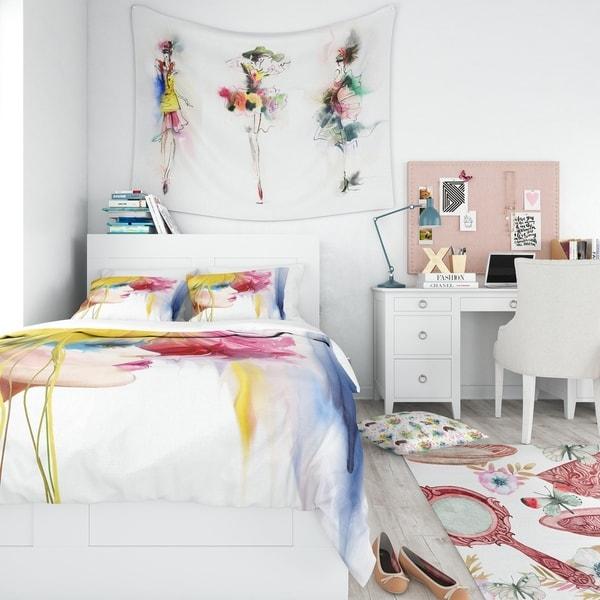 Shop Designart Girl With Colorful Hair Portrait Bedding
