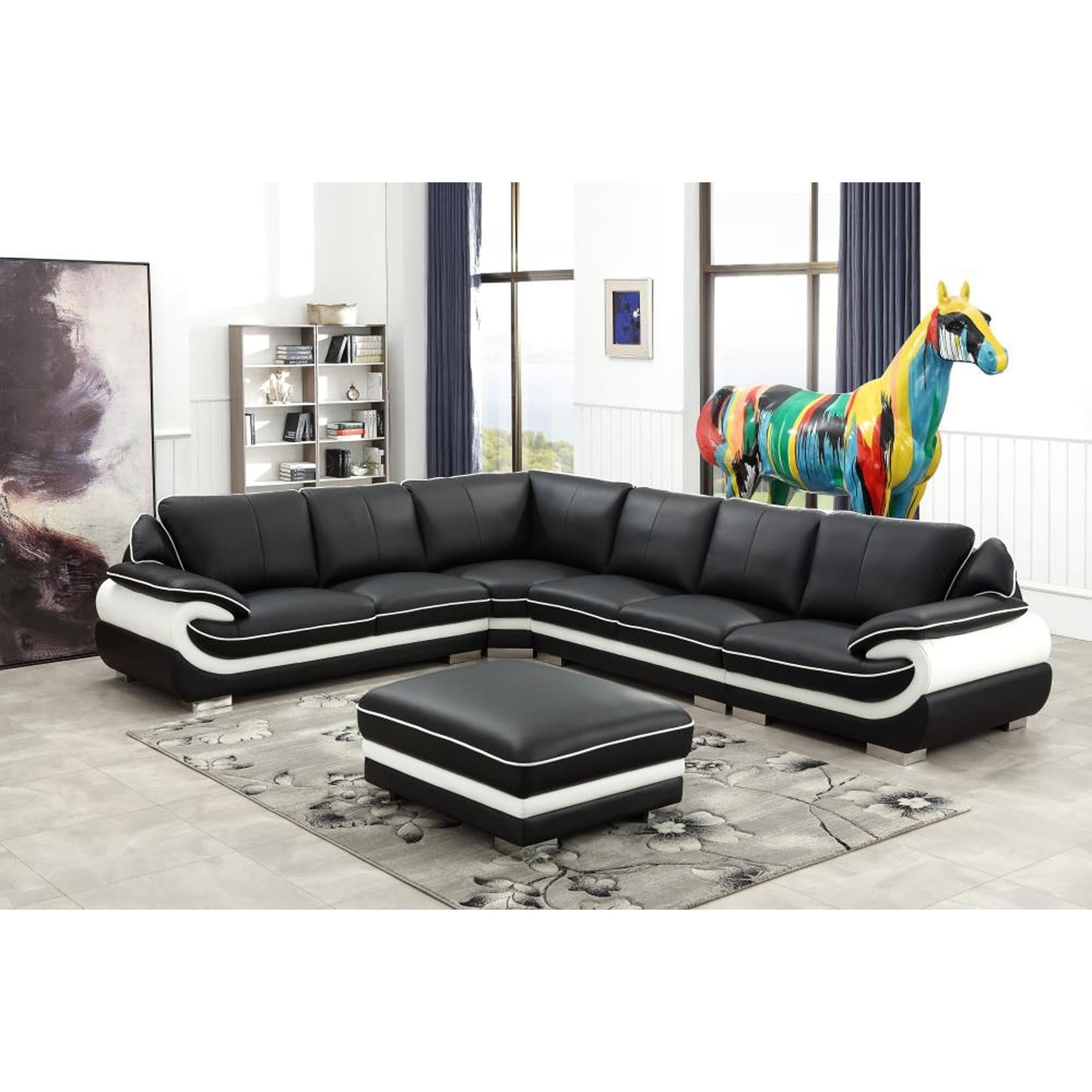 Black and White Modern Contemporary Real Leather Sectional Living Room  Furniture Set with Ottoman