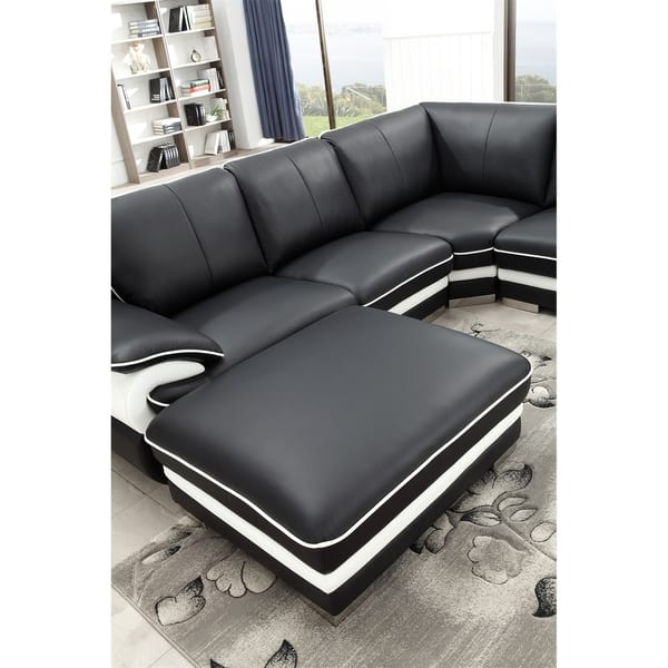 Black And White Modern Contemporary Real Leather
