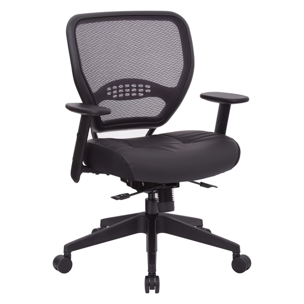 Black Bonded Leather Seat Office Chair with Adjustable Angled Arms