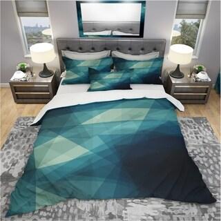 Designart - Abstract Geometric Shades of Blue - Modern & Contemporary Duvet Cover Set