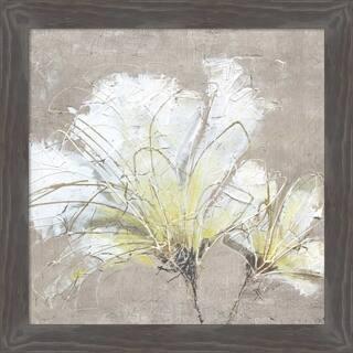 Canvas Art Framed 'White Flowers II' by Wendy Kroeker: Outer Size 21 x 21-inch