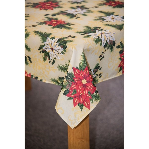 Bon Shop Christmas Poinsettia Tablecloth   Free Shipping On Orders Over $45    Overstock   24242062