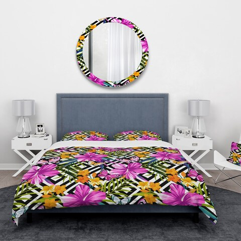 Designart 'Tropical Flowers and Pink Butterflies on Geometric Background' Floral Bedding Set - Duvet Cover & Shams