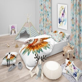 Designart - Skull with Feathers - Abstract Duvet Cover Set