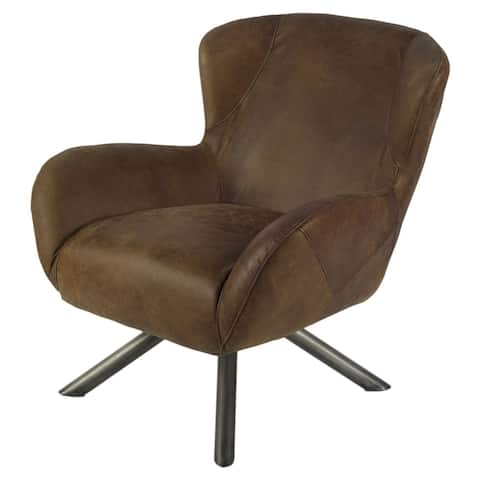 Mercana Udall I Brown/Black Leather/Iron Chair