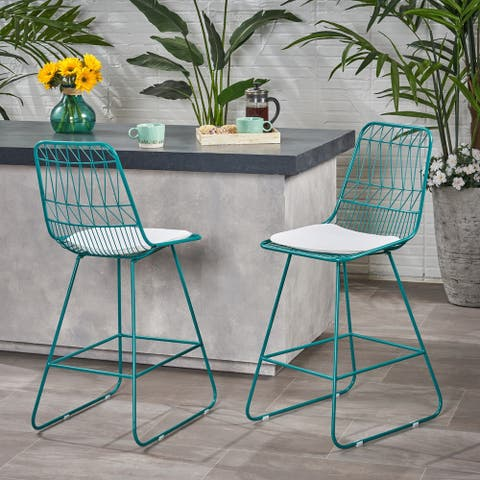 "Niez Modern Outdoor 26"" Seats Geometric Counter Stool (Set of 2) by Christopher Knight Home"
