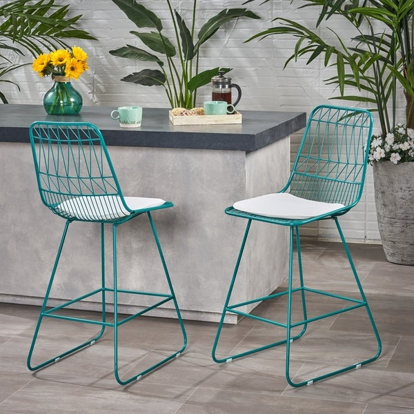 """Niez Modern Outdoor 26"""" Seats Geometric Counter Stool (Set of 2) by Christopher Knight Home. Opens flyout."""