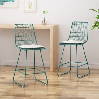 """Walcott Modern 26"""" Seats Geometric Counter Stools (Set of 2) by Christopher Knight Home"""