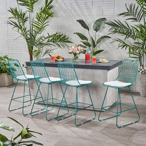 """Niez Modern Outdoor 26"""" Seats Geometric Counter Stools (Set of 4) by Christopher Knight Home"""