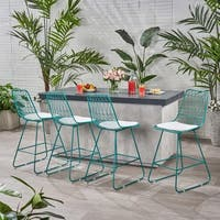 "Niez Modern Outdoor 26"" Seats Geometric Counter Stools (Set of 4) by Christopher Knight Home"