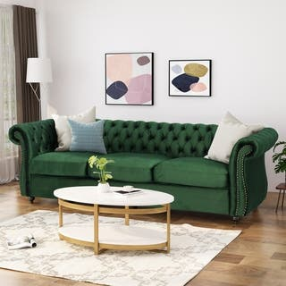 Somerville Chesterfield Tufted Jewel Toned Velvet Sofa With Scroll Arms By Christopher Knight Home