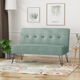 Link to Berkman Modern Fabric Settee with Hair Pin Legs by Christopher Knight Home Similar Items in Sofas & Couches
