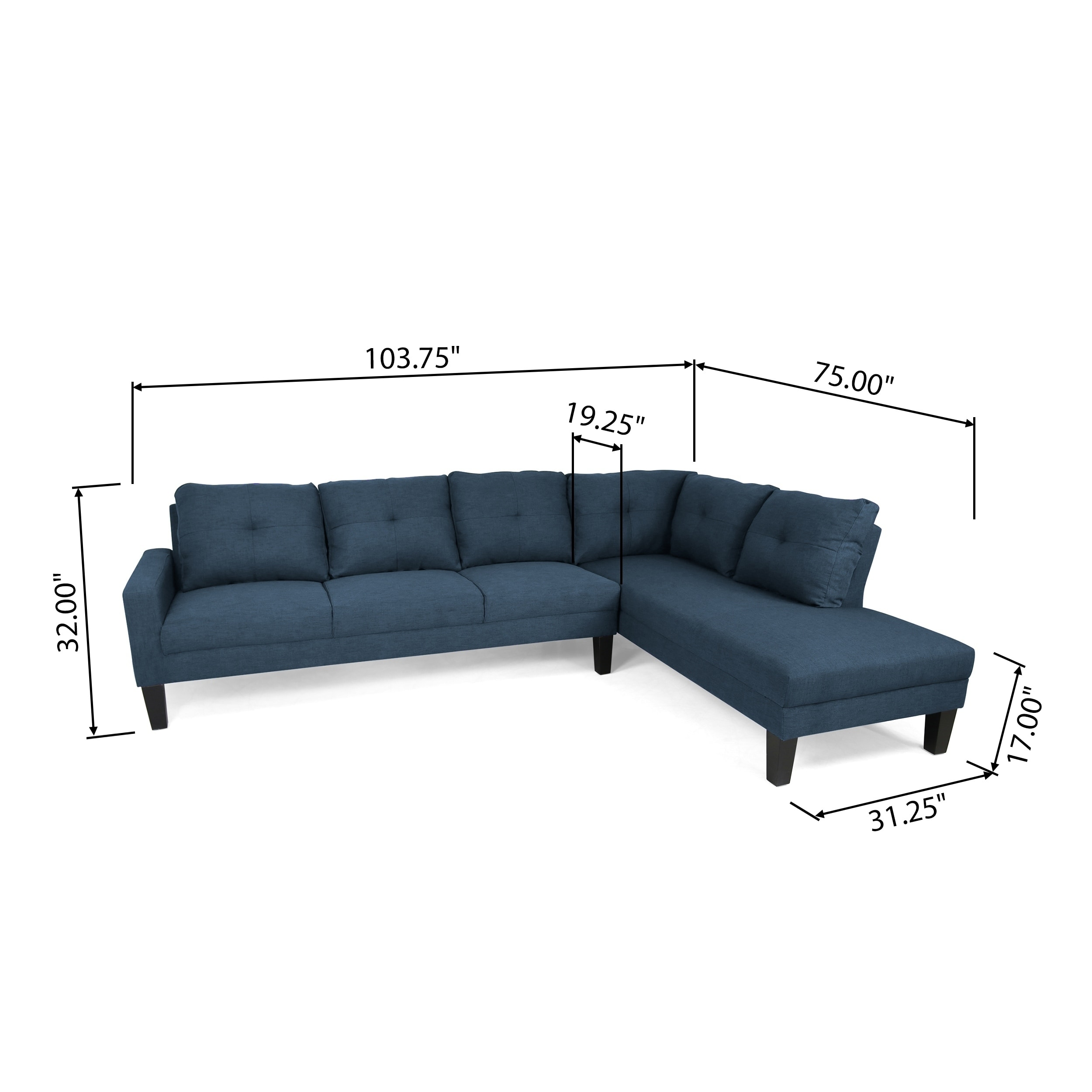Stupendous Fenmore Modern Fabric Chaise Sectional By Christopher Knight Home Squirreltailoven Fun Painted Chair Ideas Images Squirreltailovenorg