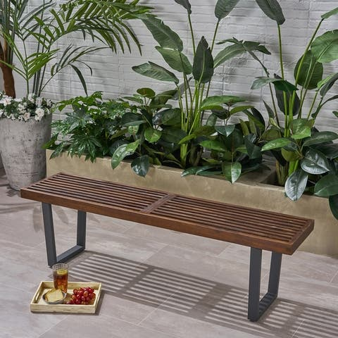 Fresno Outdoor Acacia Wood Dining Bench by Christopher Knight Home