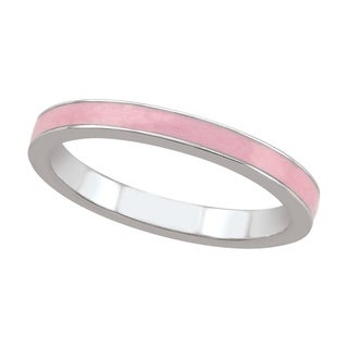 Sterling Silver Pearlized Pink Stack Ring