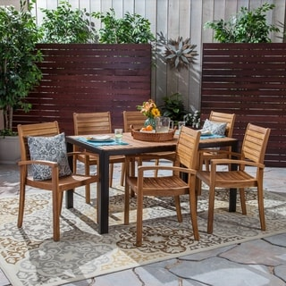 Kirby Outdoor 6-Seater Rectangular Acacia Wood Dining Set by Christopher Knight Home