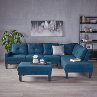 Fenmore Modern Fabric Chaise Sectional with Ottoman by Christopher Knight Home