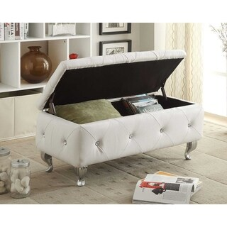HomeRoots Furniture White Tufted Bonded Leather Storage Bench
