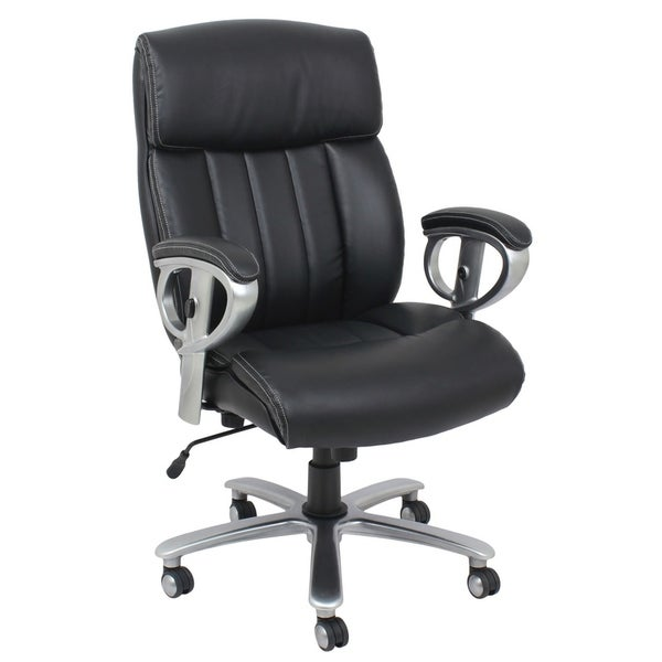 HomeRoots Furniture Office Chair with Pneumatic Lift and Black Bonded Leather Match Fabric