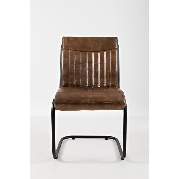 Genuine Leather Upholstered Chair with Metal Cantilever Base, Set of Two, Brown and Black