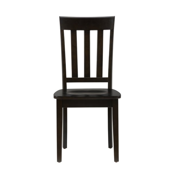 Wooden Chair with Vertically Slatted Back, Set of Two, Espresso Brown