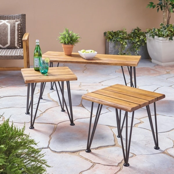Industrial Renaissance Outdoor Coffee Table: Shop Zion Outdoor Industrial Acacia Wood Coffee Table With