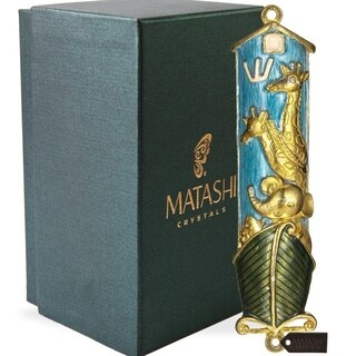 Matashi Hand Painted Blue Enamel Noah's Ark Mezuzah with Gold Accents and High Quality Crystals