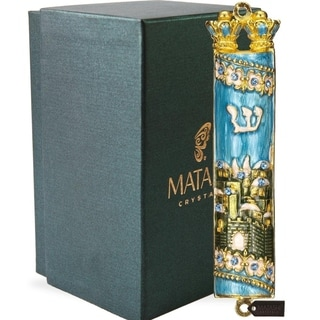 Matashi Hand Painted Blue & Green Enamel Mezuzah with Jerusalem City Design with Gold Accents and High Quality Crystals
