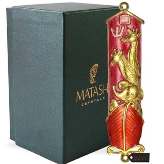 Matashi Hand Painted Red Enamel Noah's Ark Mezuzah with Gold Accents and High Quality Crystals
