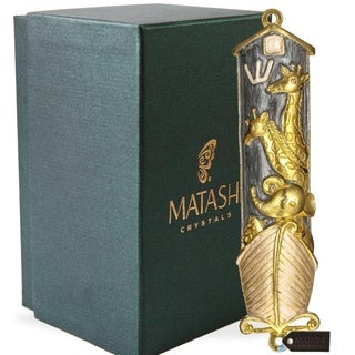 Matashi Hand Painted Grey Enamel Noah's Ark Mezuzah with Gold Accents and High Quality Crystals