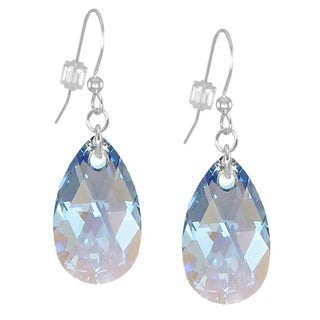 Handmade Jewelry by Dawn Large Crystal Teardrop Sapphire Blue Aurora Borealis Sterling Silver Earrings (USA)