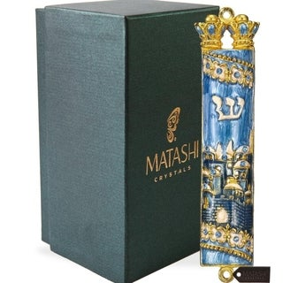 Matashi Hand Painted Blue Enamel Mezuzah with Jerusalem City Design with Gold Accents and High Quality Crystals