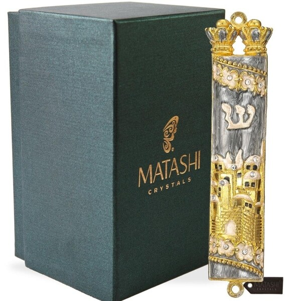 Matashi Hand Painted Grey Enamel Mezuzah with Jerusalem City Design with Gold Accents and High Quality Crystals