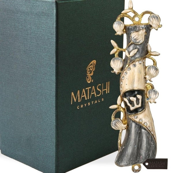 Matashi Hand Painted Grey & White Enamel Mezuzah Embellished with a Pomegranate Floral Design with Gold Accents Quality Crystals