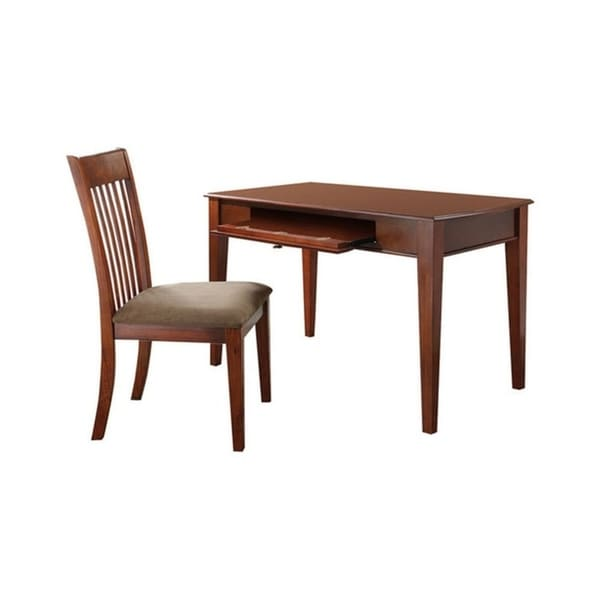 HomeRoots Furniture 2 Pack Traditional Solid Hardwood Writing Desk and Chair Set in Oak Finish