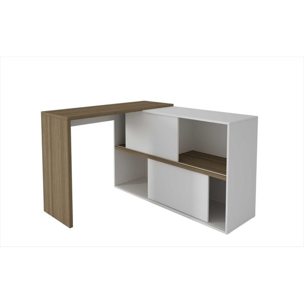HomeRoots Furniture Bari Bookcase Desk with 4 Shelves and 2 Sliding Doors in Oak and White