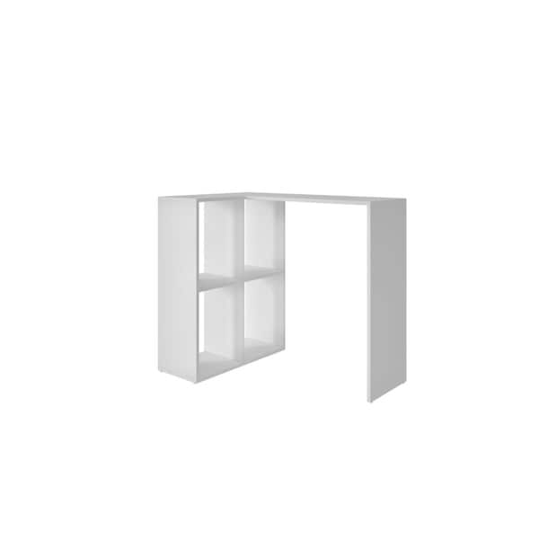 HomeRoots Furniture Melamine and MDP Cubby Desk with 4 Shelves in White