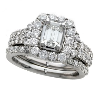 14k White Gold 2ct TDW Emerald Cut Diamond Halo Engagement Ring Set Size 7