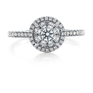 14k White Gold 1/2ct TDW Round Cut Diamond Double Halo Engagement Ring