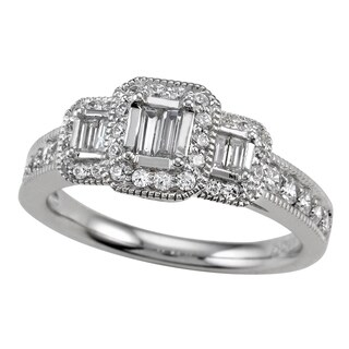 14k White Gold 3/4ct TDW Baguette Cut Three Diamond Halo Engagement Ring