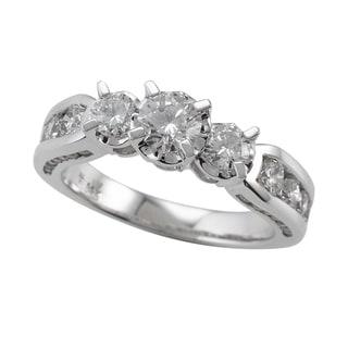 14k White Gold 1 1 2ct TDW Round Cut Diamond Three Stone Engagement Ring