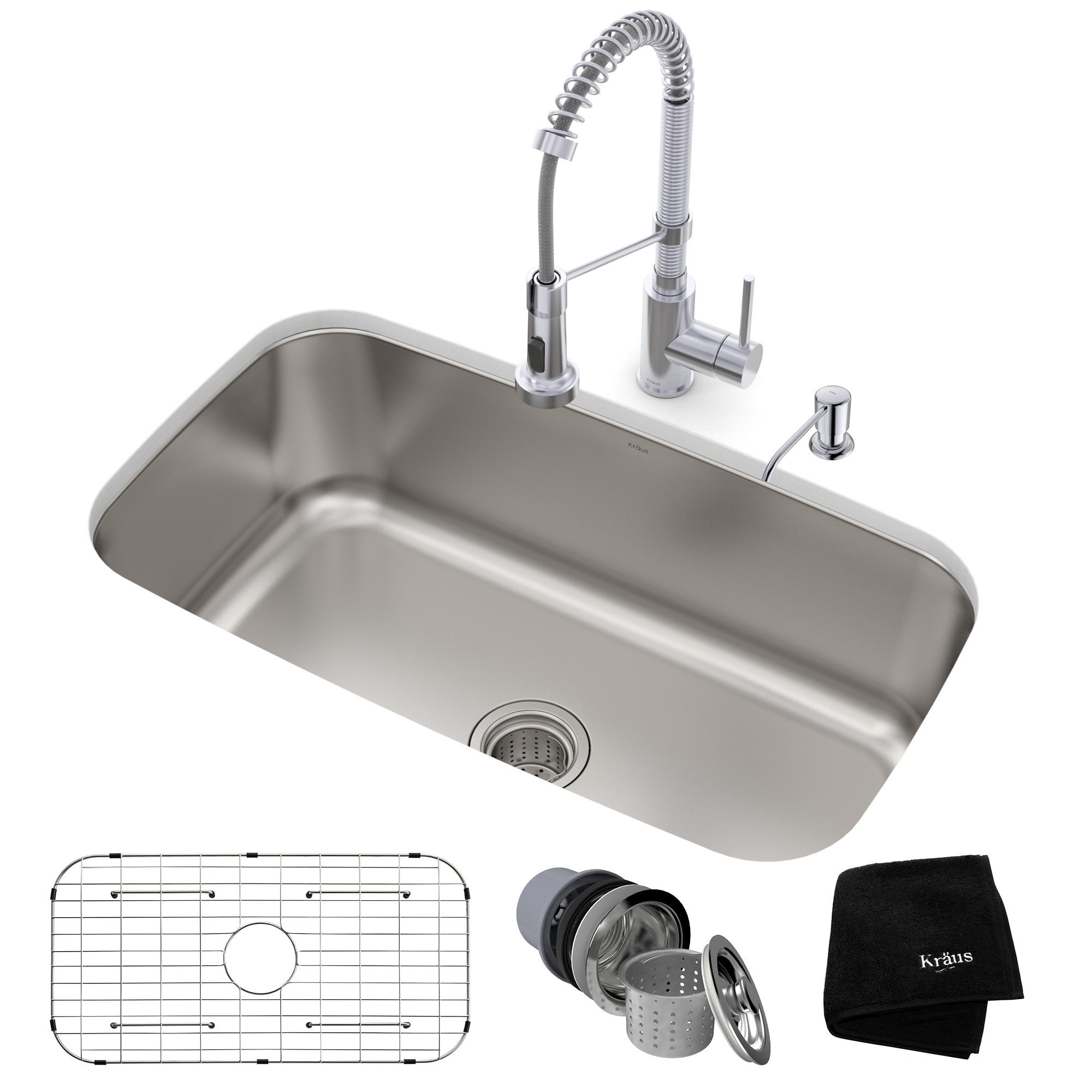 Excellent Details About Kraus 31 1 2 Undermount 1 Bowl Stainless Steel Kitchen Sink Download Free Architecture Designs Scobabritishbridgeorg
